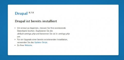 Drupal ist bereits installiert Screenshot
